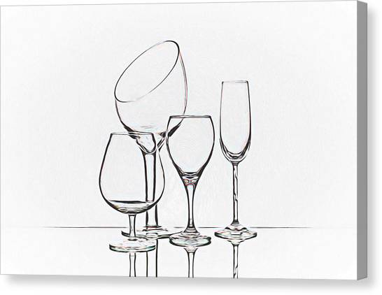 Wine Art Canvas Print - Wineglass Graphic by Tom Mc Nemar