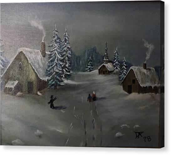 Winter In A German Village Canvas Print
