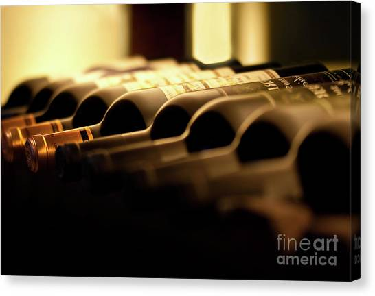 Wine Bottles Canvas Print - Wines by Delphimages Photo Creations