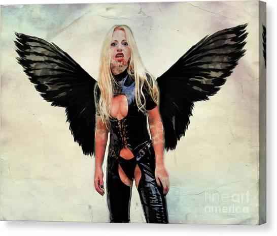 Satan Canvas Print - Winged Avenger By Mary Bassett by Mary Bassett