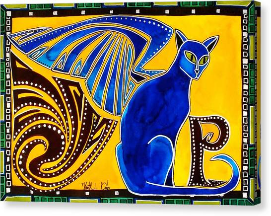 Winged Feline - Cat Art With Letter P By Dora Hathazi Mendes Canvas Print