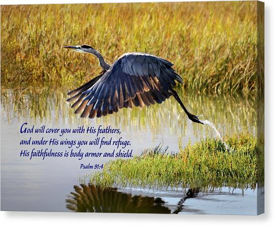 Wings Of Refuge With Scripture Canvas Print