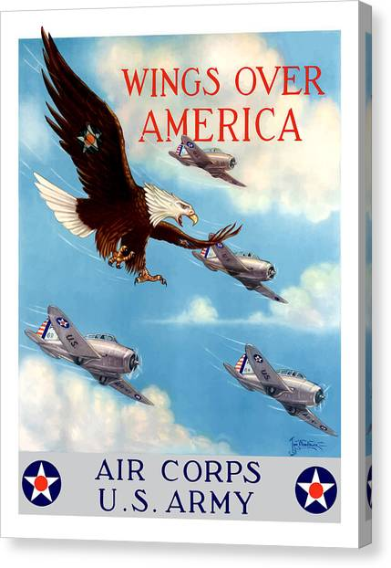 Air Force Canvas Print - Wings Over America - Air Corps U.s. Army by War Is Hell Store