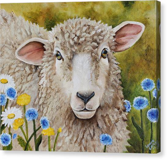 Bachelor Canvas Print - Winnie In The Wild Flowers by Laura Carey