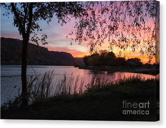 Winona Minnesota Pink Sunset With Branches Canvas Print