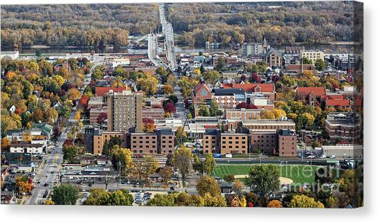 Canvas Print featuring the photograph Winona Minnesota With University And Bridge by Kari Yearous