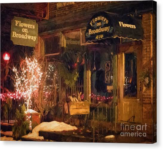 Canvas Print featuring the photograph Winona Mn Storefront Historic Flower Shop by Kari Yearous