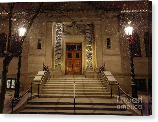 Winona Public Library On A Snowy Night Canvas Print