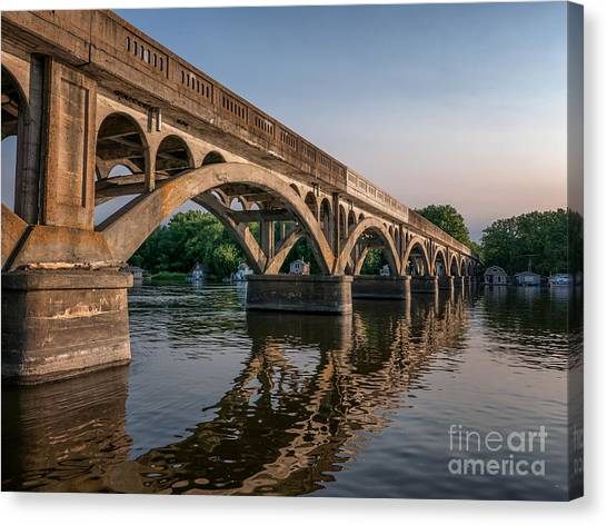 Canvas Print featuring the photograph Winona Wagon Bridge With Boathouses by Kari Yearous