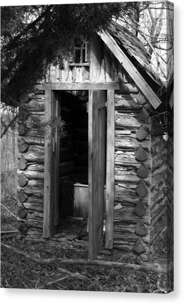 Winslow Log Outhouse Canvas Print by Curtis J Neeley Jr