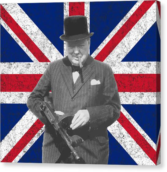 Patriot Canvas Print - Winston Churchill And His Flag by War Is Hell Store