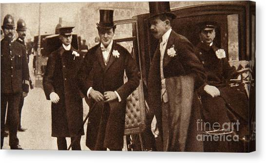 St Margaret Canvas Print - Winston Churchill Arriving At The Doors Of St Margaret's, Westminster On His Wedding Day, 1908 by English School
