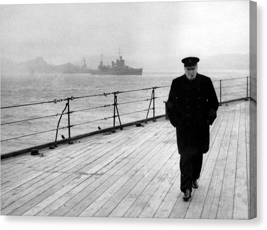 Boat Canvas Print - Winston Churchill At Sea by War Is Hell Store