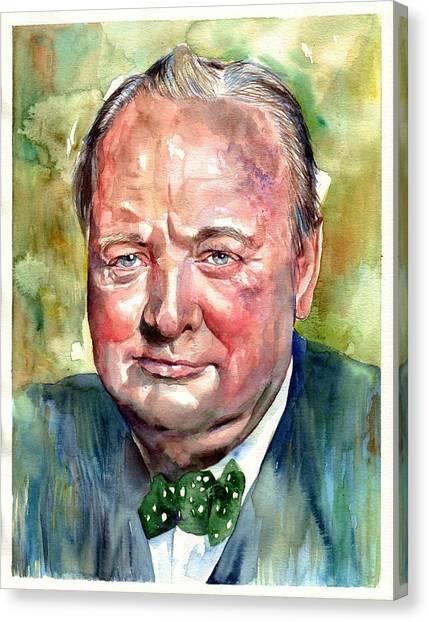 Prime Canvas Print - Winston Churchill Portrait by Suzann's Art