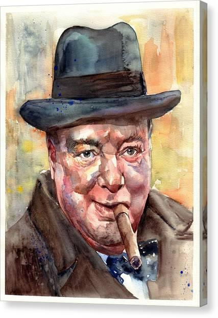 Old World Canvas Print - Winston Churchill by Suzann's Art