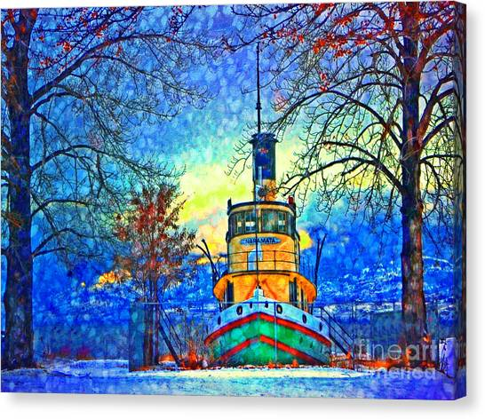 Winter And The Tug Boat 2 Canvas Print