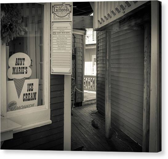 Winter At Aunt Marie's Ice Cream Stand Canvas Print
