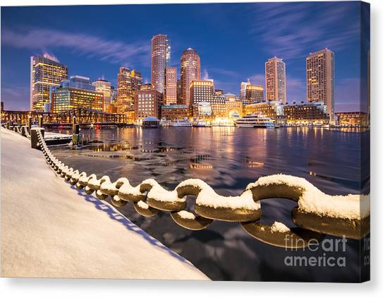 Winter At Boston Fan Pier Canvas Print