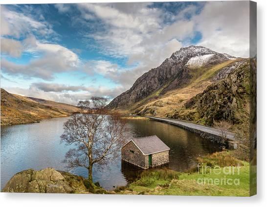 Tryfan Mountain Canvas Print - Winter At Llyn Ogwen by Adrian Evans