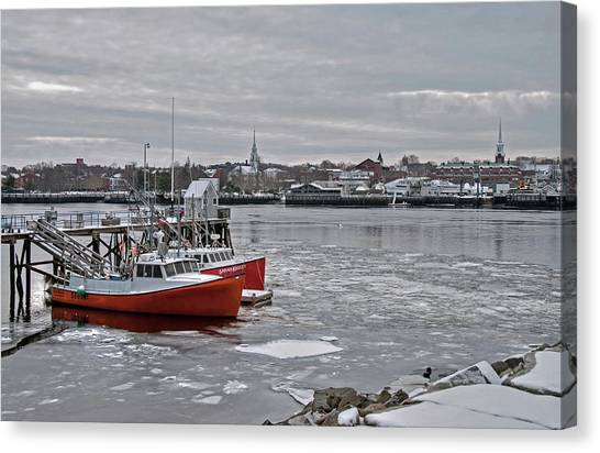 Winter At Newburyport Harbor Canvas Print