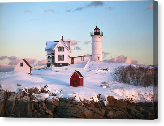 Winter At Nubble Canvas Print