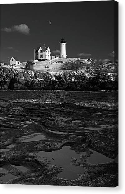 Winter At Nubble Lighthouse Bw Canvas Print