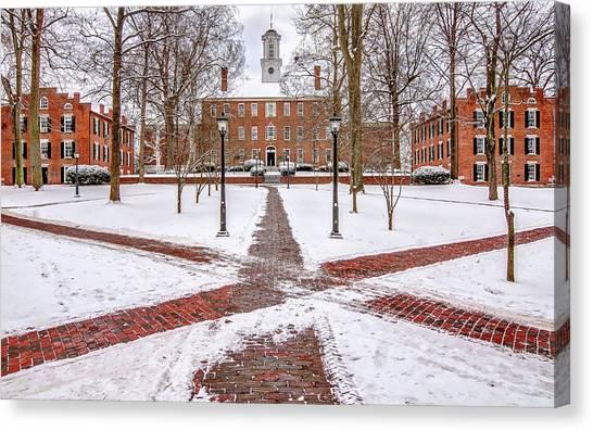 Ohio University Canvas Print - Ohio University Winter Snow by Robert Powell