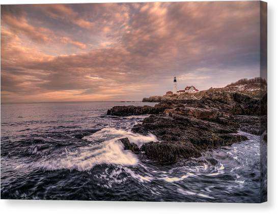 Winter At Portland Head Light Canvas Print