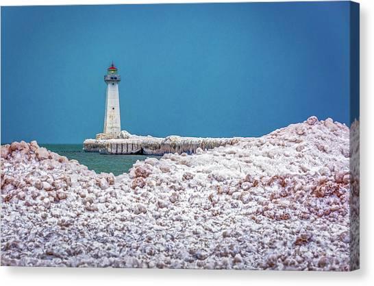 Winter At Sodus Point  Canvas Print