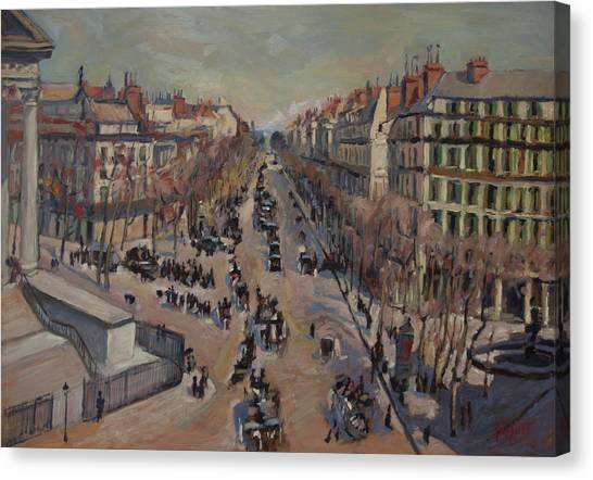 Briex Canvas Print - Winter At The Boulevard De La Madeleine, Paris by Nop Briex