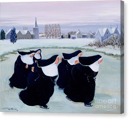 Ice Skating Canvas Print - Winter At The Convent by Margaret Loxton
