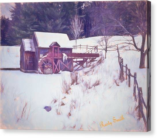 Winter At The Gristmill. Canvas Print