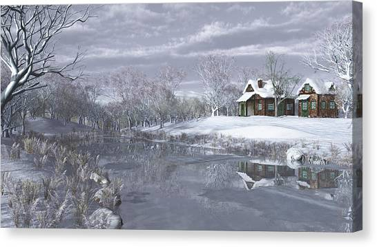 Winter At The Lake Canvas Print