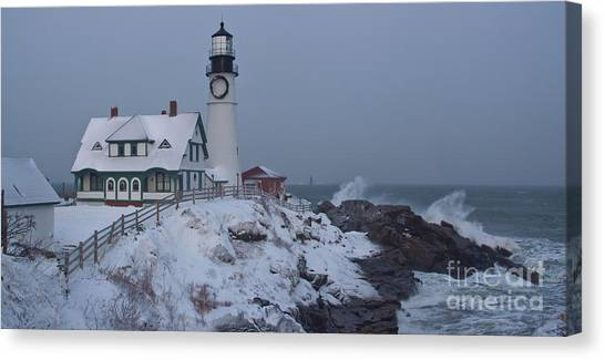 Winter At The Lighthouse Canvas Print