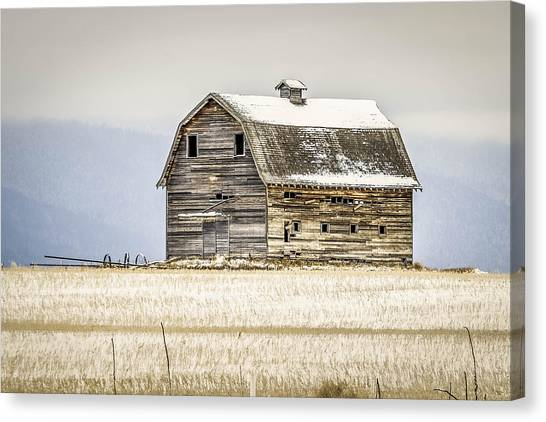 Winter Barn Canvas Print by Bryan Moore