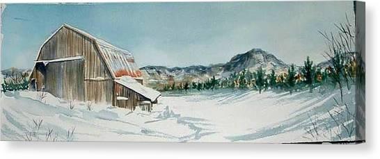 Winter Barn Canvas Print by Diane Ziemski