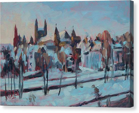 Canvas Print - Winter Basilica Our Lady Maastricht by Nop Briex