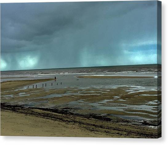 Canvas Print featuring the photograph Winter Beach by Debbie Cundy