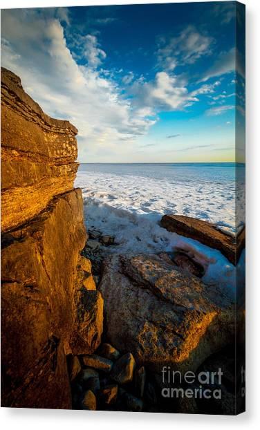 Winter Beach Sunset Canvas Print