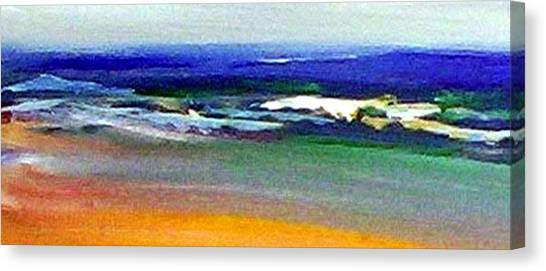 Canvas Print featuring the painting Winter Beach by Winsome Gunning