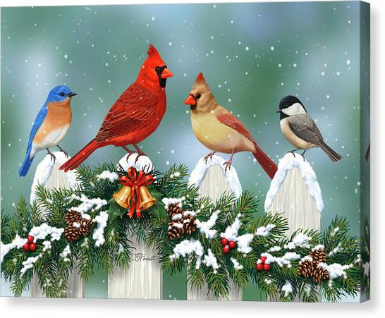 Chickadees Canvas Print - Winter Birds And Christmas Garland by Crista Forest