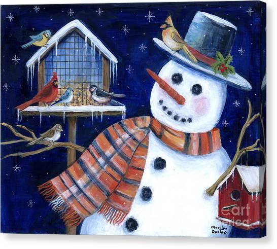 Bluejays Canvas Print - Winter Birds Delight by Marilyn Dunlap