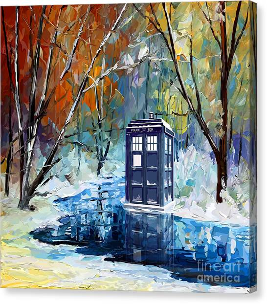 Back To The Future Canvas Print - Winter Blue Phone Box by Lugu Poerawidjaja