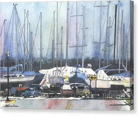 Winter Blues, Sal Boats, Boating Paintings, Boat Paintings, Boat Prints Canvas Print