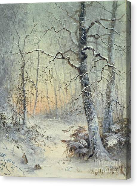 Winter Forest Canvas Print - Winter Breakfast by Joseph Farquharson