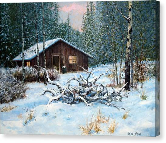 Winter Cabin Canvas Print by E Colin Williams ARCA