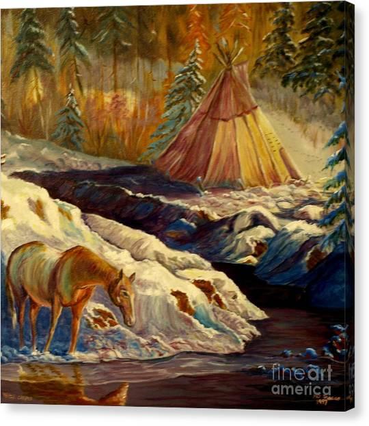 Winter Camping Canvas Print