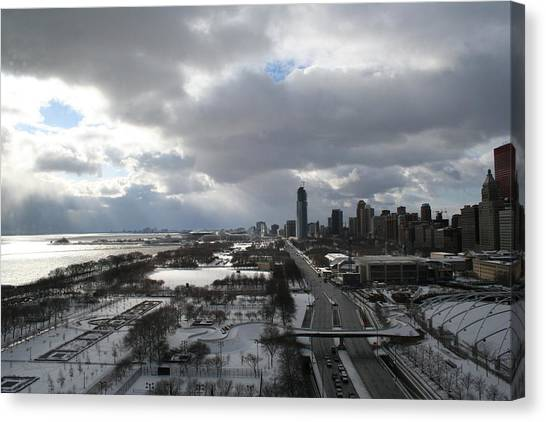 Winter Clouds Over Grant Park Canvas Print by Gregory Jeffries
