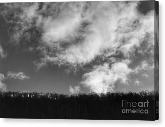 Winter Clouds Over The Delaware River Canvas Print