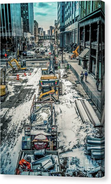 Backhoes Canvas Print - Winter Construction On Nicollet Mall Minneapolis by Chellie Bock